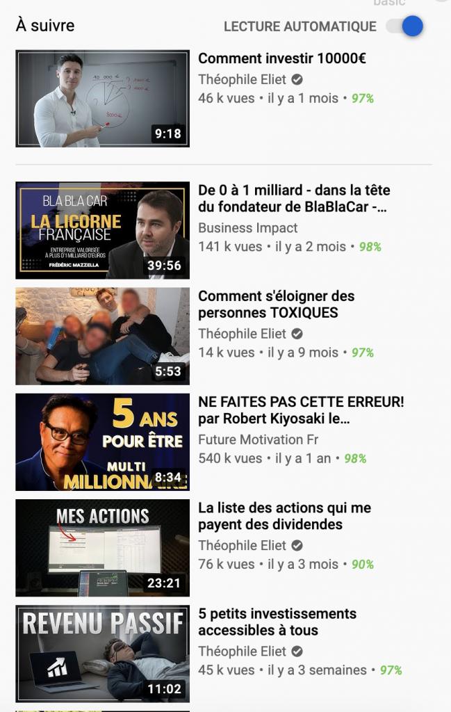 Vidéo connexe dans la zone latérale de YouTube