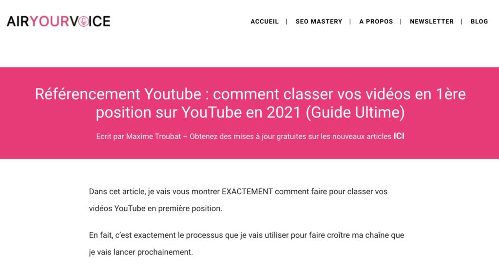 Dans cet article, je vais vous montrer EXACTEMENT comment faire pour classer vos vidéos YouTube en première position.